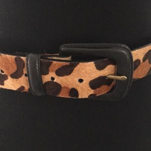 Ralph Lauren Leopard Belt, Black Leather 36""